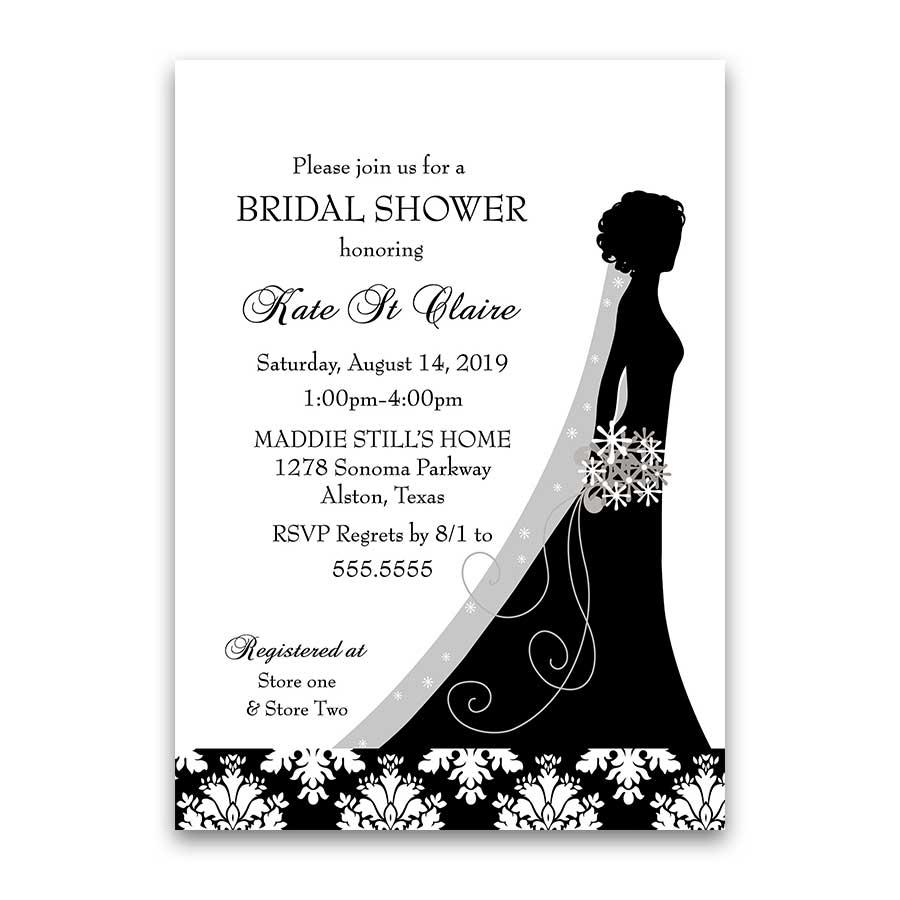 Wedding Shower Invites Damask Wedding Bridal Shower Invitations Black White Floral