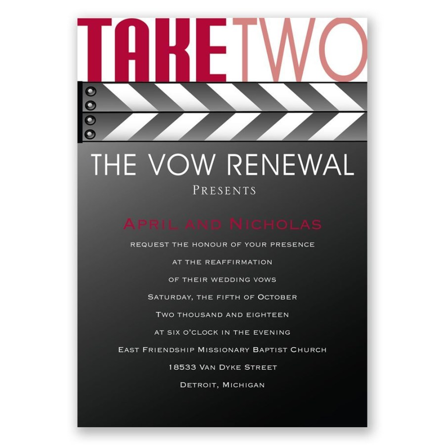 Wedding Vow Renewal Invitations Take Two Vow Renewal Invitation Invitations Dawn