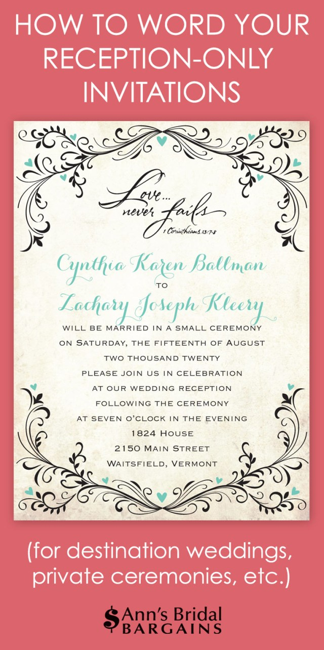 What To Say On Wedding Invitations How To Word Your Reception Only Invitations Anns Bridal Bargains