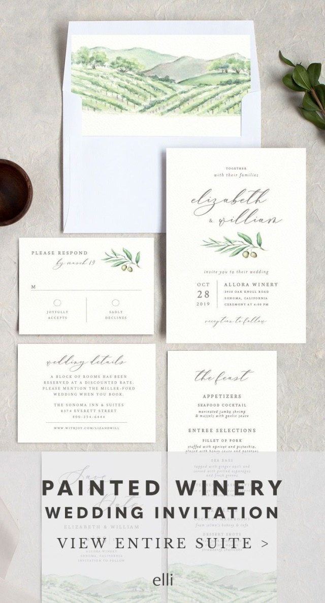 Winery Wedding Invitations Painted Winery Wedding Invitation Suite Perfect For A Winery Or