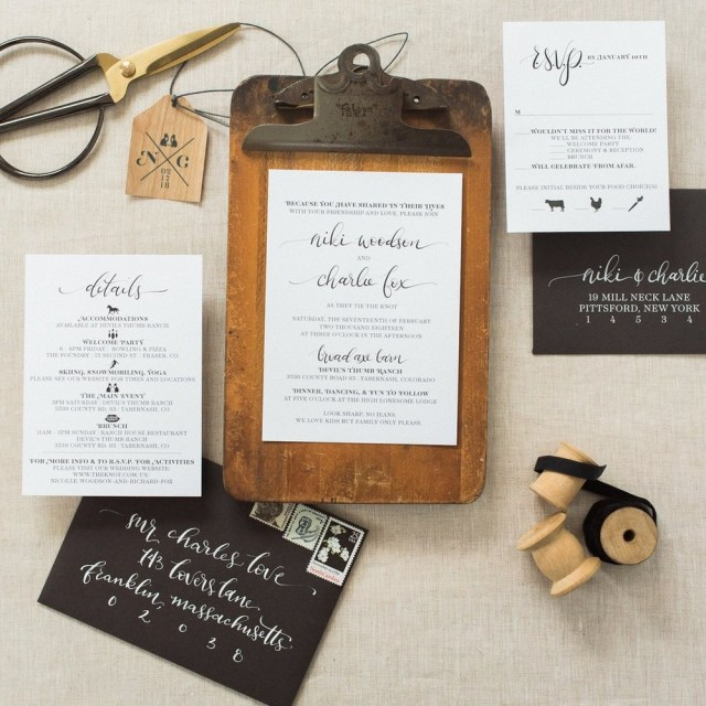 Woodsy Wedding Invitations Simple Graphic Invitations Wouldnt It Be Lovely