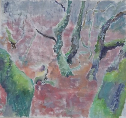 Troldetræer Olie på lærred 65x60 cm 2017 Pris 3750 kr.