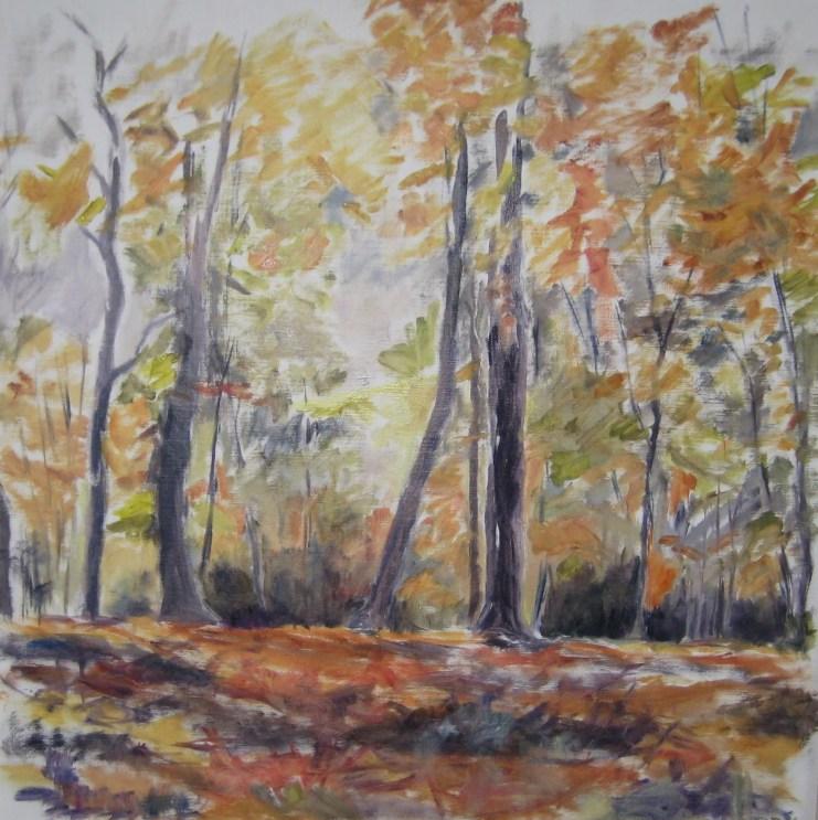 Efterår i skoven Olie på lærred 60x60 cm 2014 Pris 3200 kr