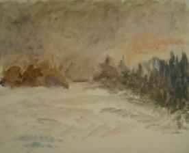 Vinterlandskab Olie på lærred 50x40 cm 2015