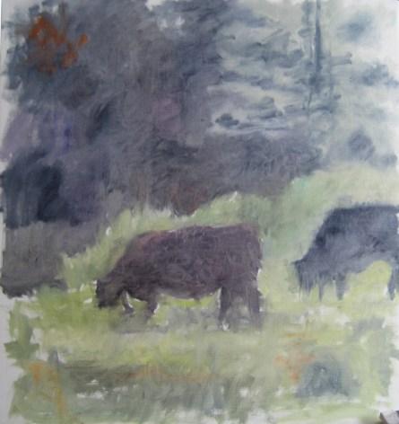 Græssende køer Olie på lærred 60x65 cm 2015 Privateje