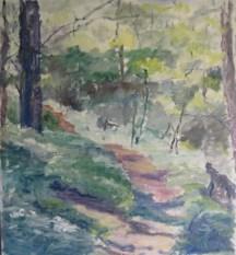 Krabbesholm skov Olie på lærred 75x80 cm 2016