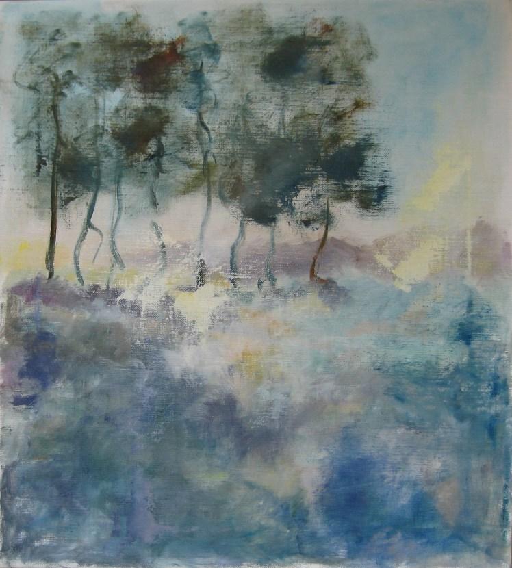 Morgenlys Olie på lærred 45x50 cm Privateje