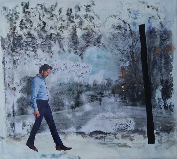 Tankefuld Collage, akryl og lærred 50x50 cm Privateje