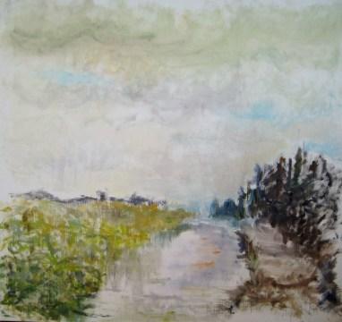 Forår ved åen Olie på lærred 80x75 cm