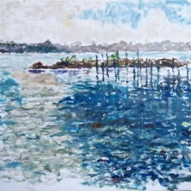Skive Havn Olie på lærred 65x60 cm