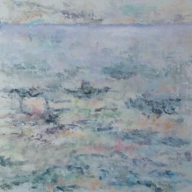 Vandet Olie på lærred 60x60 cm