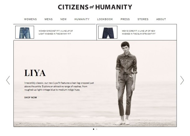 Citizens of Humanity Re-Launch Website 1