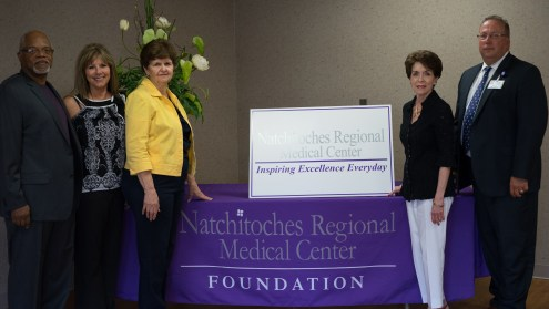 The Natchitoches Council on Aging will receive a $1,798.00 grant from the NRMC Foundation, which will be awarded at the Foundation's upcoming Gala, to be held Saturday, May 16 from 7:30 PM – 12 midnight at the Natchitoches Events Center. The grant will go to purchase one treadmill and one bike. Shown L-R: Michael D. Lewis, Board Chairman; Cathy Jacobs, NRMC Physician & Community Relations Director; Alice Barrios, Executive Director; Sharon Gahagan, NRMC Foundation Board; Kirk Soileau, NRMC CEO