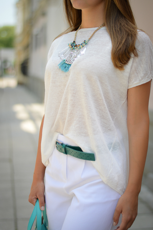 Denina Martin Wearing Stefanel Cream Top and Necklace