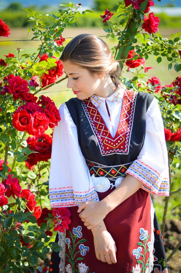 Bulgarian Girl Dressed in Native Attire during Rose Festival in Kazanlak