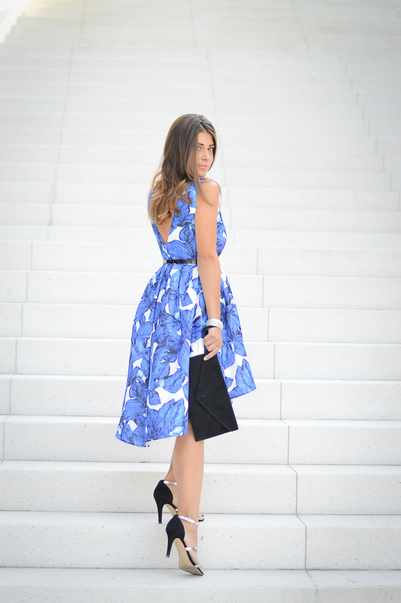 Bulgarian Fashion Blogger Denina Martin in a Blue Floral Dress from SHEIN