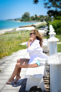 Denina Martin at the beach in Polichrono