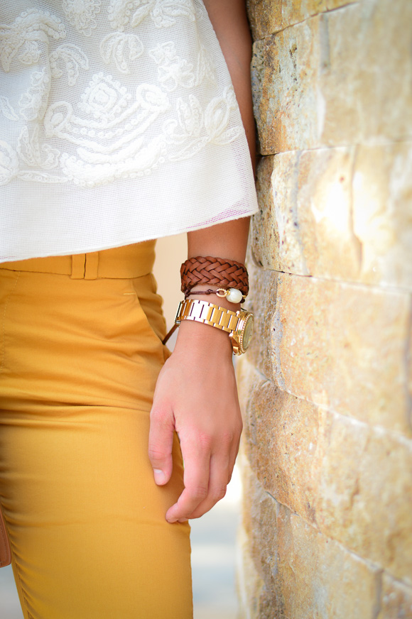 Gold Wristwatch and Leather Bracelet