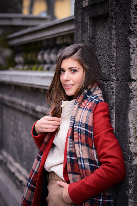 Winter-Red-Coat-Plaid-Scarf-Suede-Boots-Denina-Martin-7