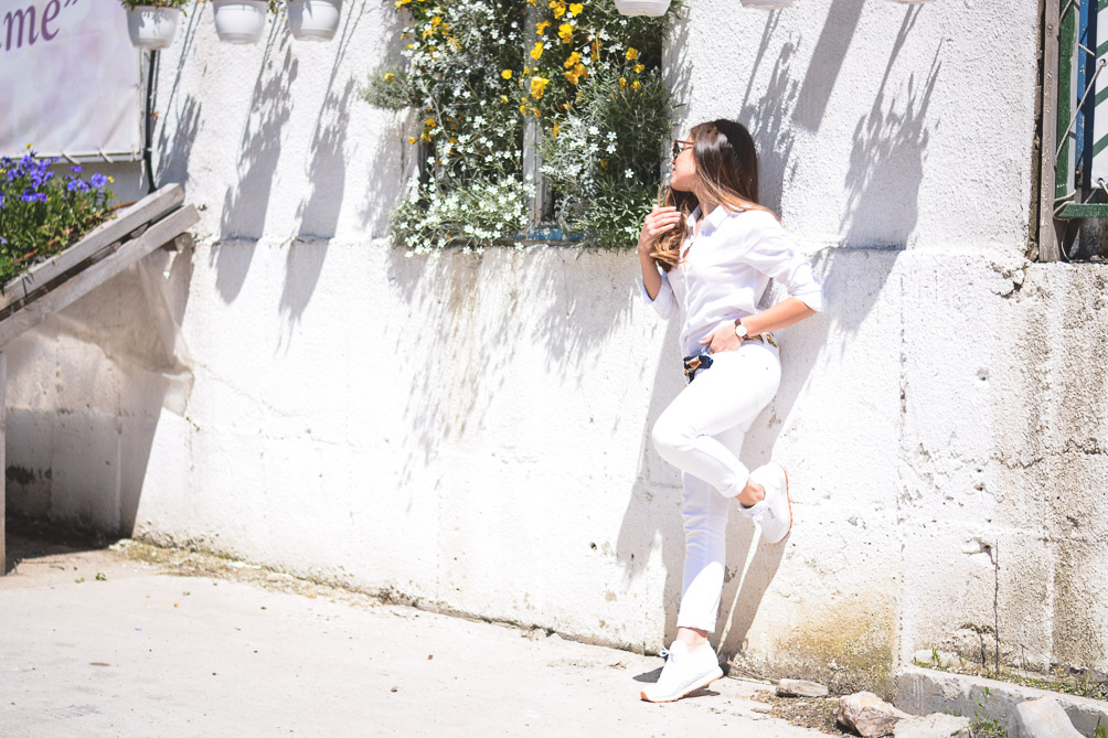 Denina Martin Wearing All White Reebok Classic