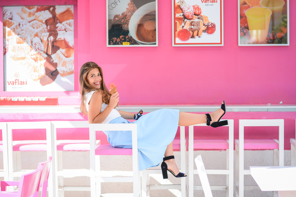 Nothing says summer like gelato Chic Summer Outfit Blue Skirt and Denina Martin