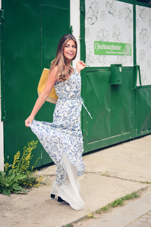 Denina Martin Wearing Floral Blue Maxi Dress