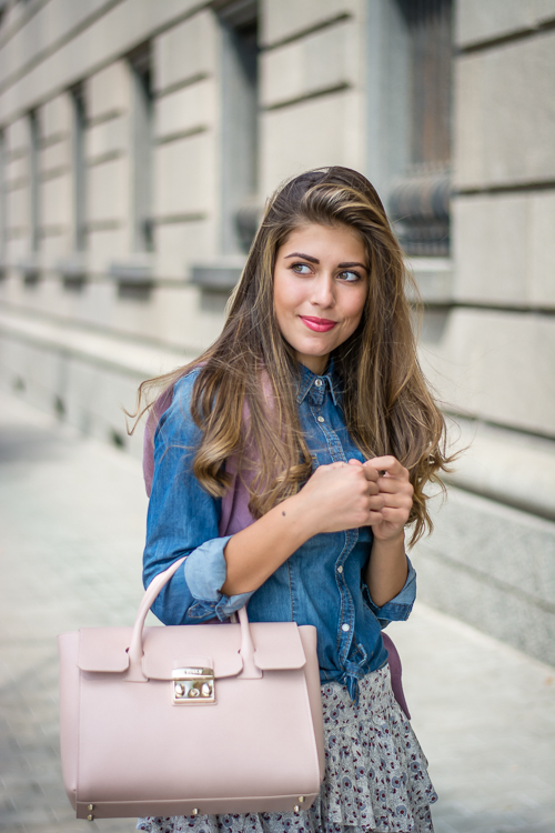 Denim Shirt With Furla Tote Bag