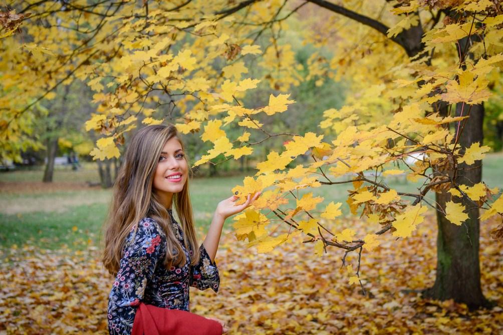 Autumn colors floraw dress Ralph Lauren bag