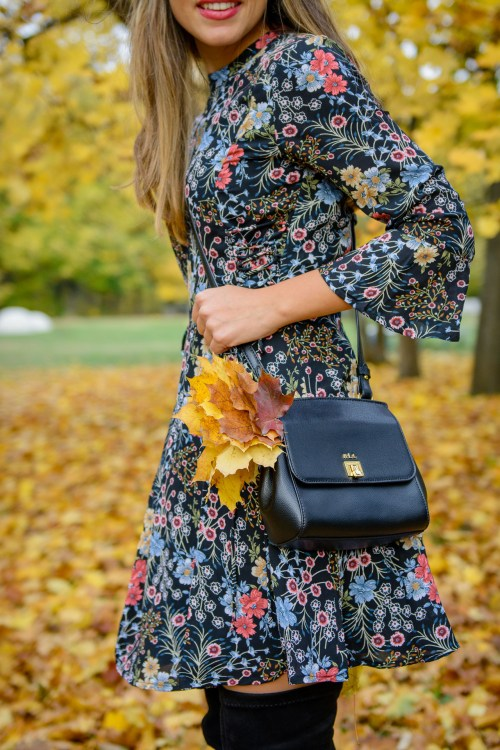 Autumn colors floraw dress Ralph Lauren bag