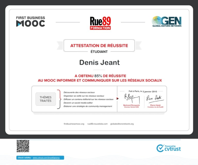 Certificat Community Manager