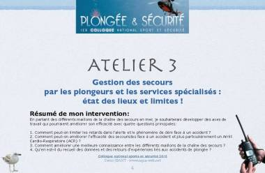 Conférence colloque sécurité en plongée Poitiers