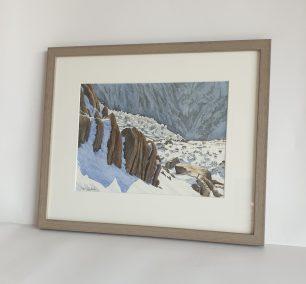 Glacier de Bionassay depuis Tête-Rousse, aquarelle 30x22