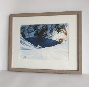 Neiges précoces au lac de Crop, aquarelle 23x30,5