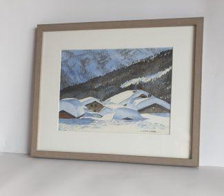 Février au hameau du Tour, aquarelle 23x31