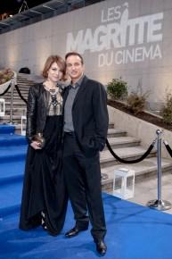 Emilie Dequenne - Actrice et présidente de la cérémonie des Magritte 2014 accompagnée de Michel Ferracci - Acteur Français