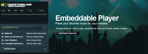 Dance-Tunes Embeddable Player