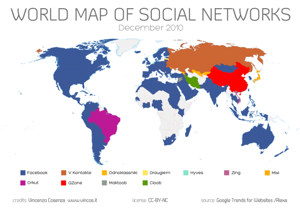 World Map of Social Networks - 2010