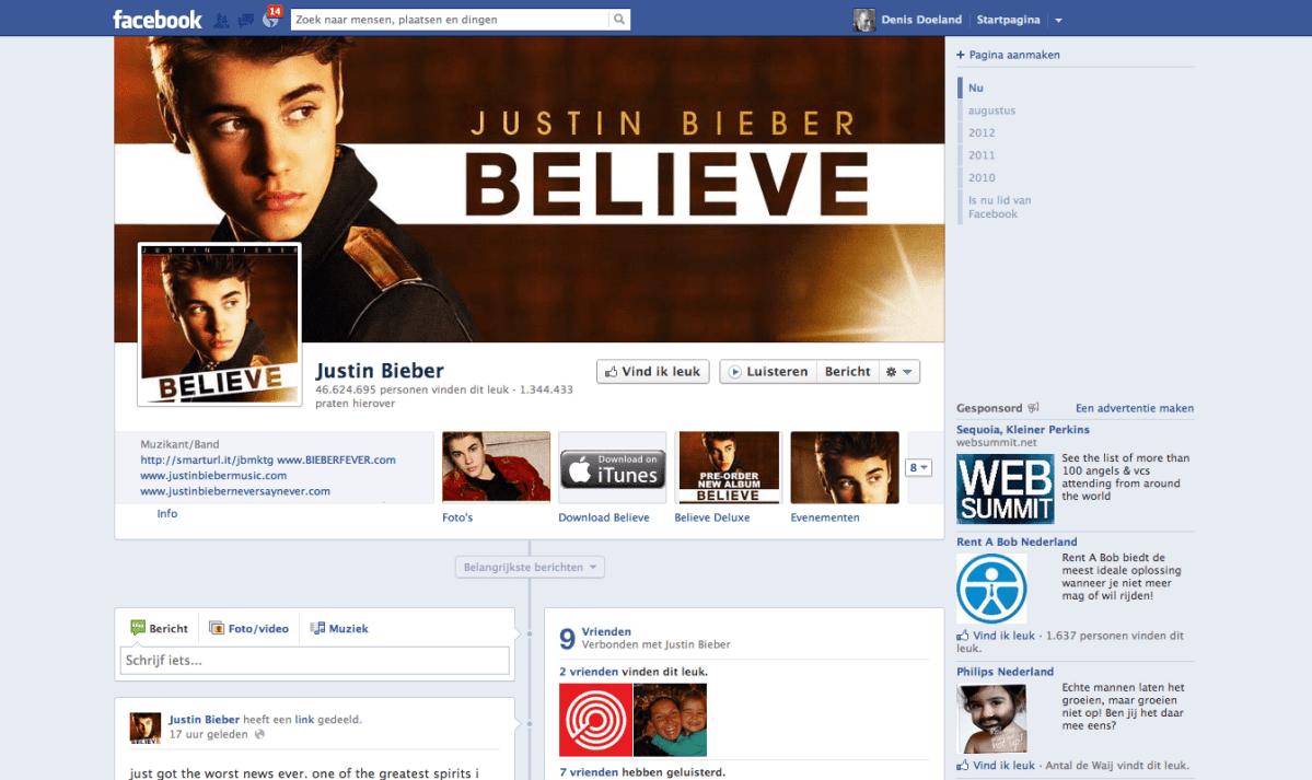 Justin Bieber verliest fans op Facebook