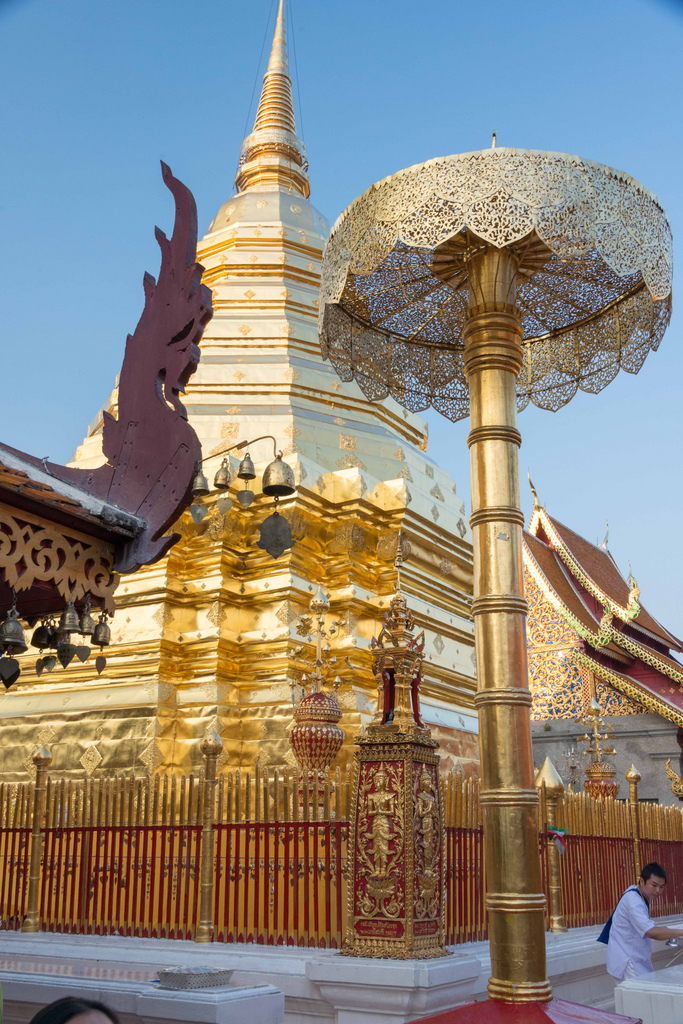 The Doi Suthep temple near Chiang Mai, Thailand. The temple was recently restored and all the gold leaf was especially shiny.