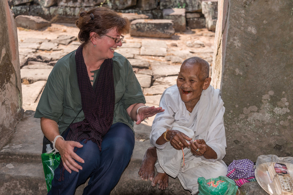 We came across a female monk at one of the temple ruins, and asked for her blessing. Our guide told us the monk is 80 years old and has been giving blessings at this spot for years.