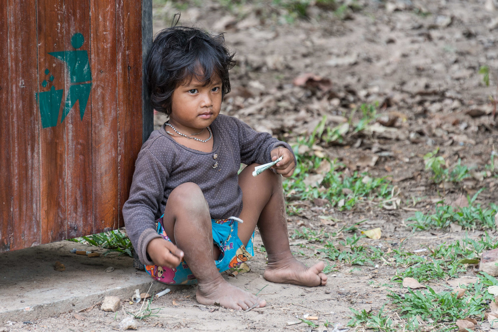 One of the many young beggars in Cambodia.