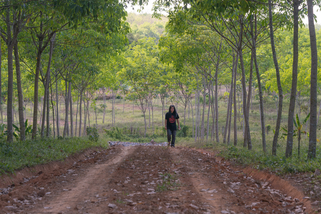 Jaa, inspecting the road on one of the rubber gardens owned by her family.