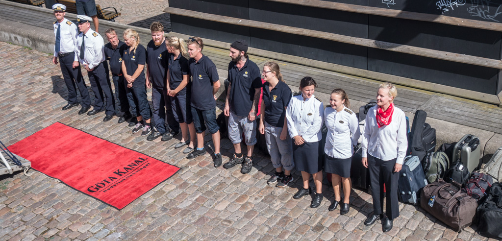 The crew rolls out the red carpet at the end of our journey, in Gothenburg.