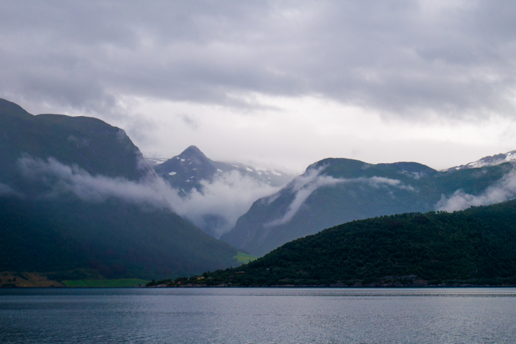It was cloudy and misty again on our way back to Bergen - but the views of Sognefjord were still great.