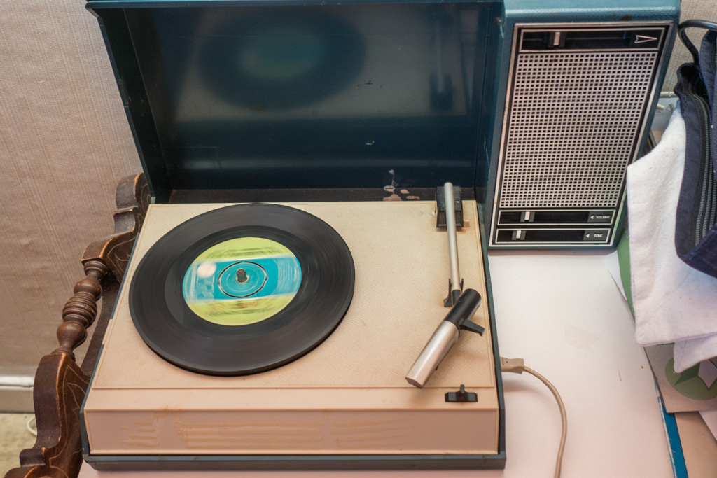 The house was built in 1955 and still had all the original furnishings, including this portable record player!