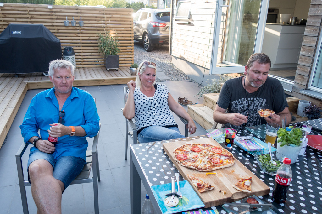 LP, Anni, and Erling enjoying Erling's home-made pizza.