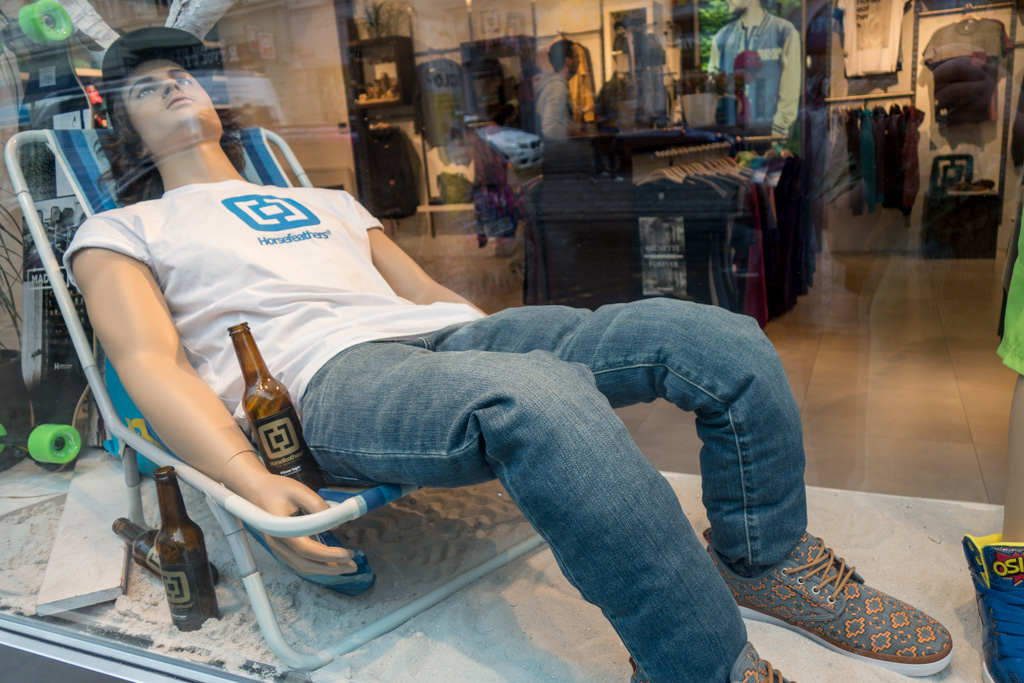 In Prague, even the mannequins drink too much.