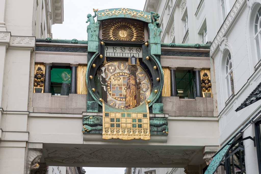 This elaborate clock features a procession of notable characters from Vienna's history.
