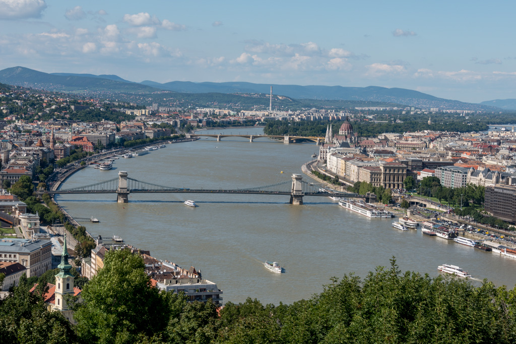 The bridge between Buda and Pest.