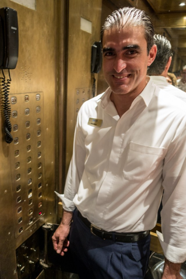 The old elevators required constant personal attention from the hotel staff.